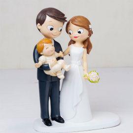 Statuine Sposi con Bebè in Braccio