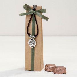 Braccialetto con Medaglietta Albero/Life is a Gift con 2 Cioccolatini
