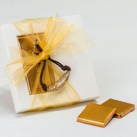 Confezione con Braccialetto Piuma di Metallo e 2 Cioccolatini