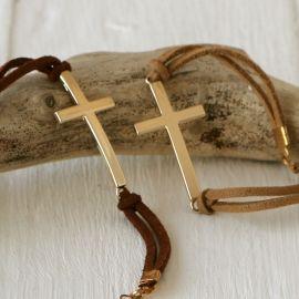 4 Braccialetti Croce Dorata Assortiti in Beige e Marrone