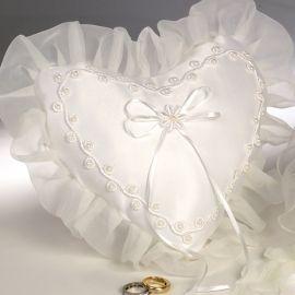 Cuscino Fedi Nuziali con Cuore e Perle