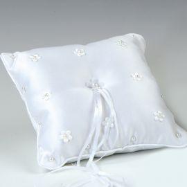 Cuscino Fedi Nuziali Fiori con Perline