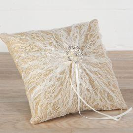 Cuscino Portafedi di Tela con Spilla di Perle