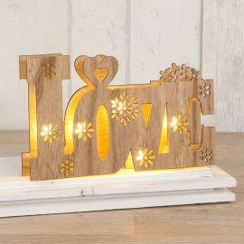 Decorazione in Legno Love con Luci Led 21 cm x 13 cm