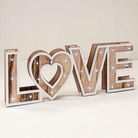 Decorazione in Legno Love Vintage con Luci Led