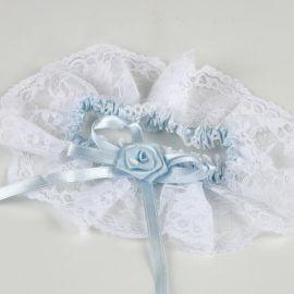 Giarrettiera Bianca con Raso Blu Cielo