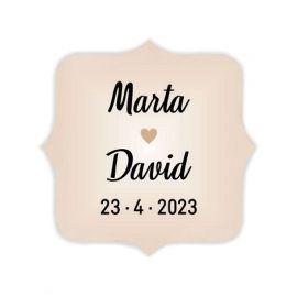 270 Etiquetas Adhesiva Marfil con Corazón 3,7 cm x 3,7 cm