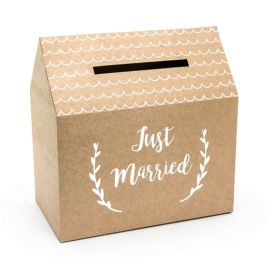 Scatola Porta Buste Just Married Kraft 30 cm x 30,5 cm x 16,5 cm