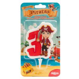 Candela dei Pirati Nº3 de 7 cm 2D