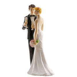 Statuetta Sposi con Bicchiere di Champagne 16 cm