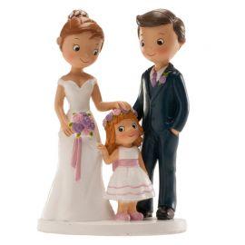 Statuina Sposi con Bimba 16 cm