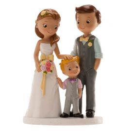 Statuina Sposi con Bimbo 16 cm