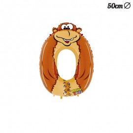 Palloncino Gorilla Numero 0 Foil 50 cm