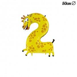 Palloncino Giraffa Numero 2 Foil 50 cm