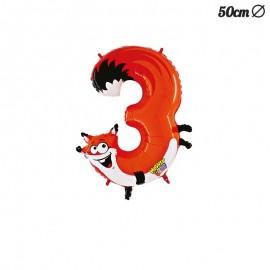 Palloncino Volpe Numero 3 Foil 50 cm