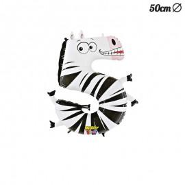 Palloncino Zebra Numero 5 Foil 50 cm