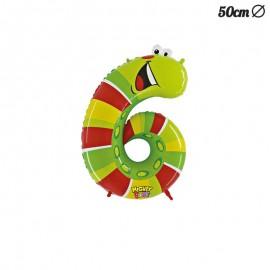 Palloncino Bruco Numero 6 Foil 50 cm