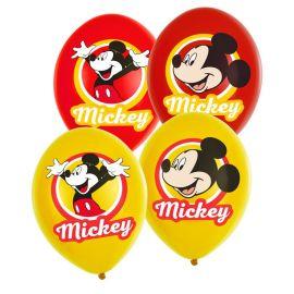 6 Palloncini Mickey Mouse di Lattice Rosso e Giallo