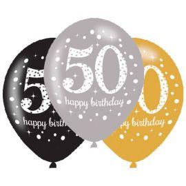 6 Palloncini Happy Birthday Elegant 50 Anni Dorati 28 cm