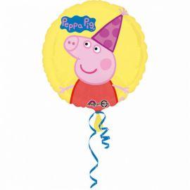 Palloncino Peppa Pig con Cappello di Foil Rotondo