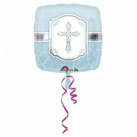 Palloncino Croce Blu Foil Quadrato 40 cm
