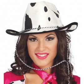 Cappello da Cowboy di Velluto con Stampa di Mucca