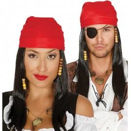 Peluca de Pirata Negra con Bandana Roja