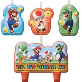 4 Candeline Super Mario Happy Birthday