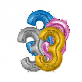 Palloncino Numero 3 Foil 35 cm