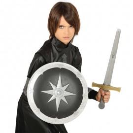 Escudo y Espada Medieval Estrella de Plata