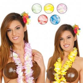 Collana Hawaiana con Tocchi Bianchi in Colori Assortiti