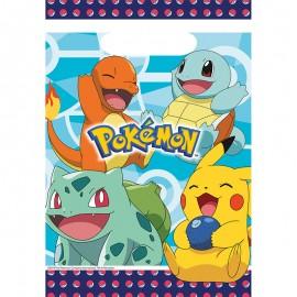 8 Sacchetti Pokémon di Plastica 23.4 x 16.2 cm