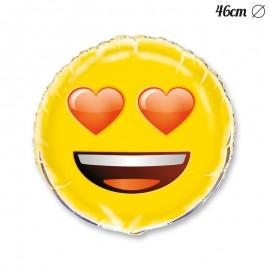 Palloncino Foil con Emoticon Occhi Cuore 46 cm