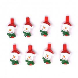 Confezione di 8 Pinzette con Pupazzo di Neve 3 Cms