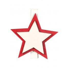 9 Pinzette di Legno a Forma di Stella 45 Cms