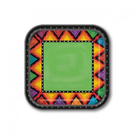 10 Piatti Quadrati Messicani 18 cm