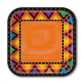 10 Piatti Quadrati Messicani 23 cm