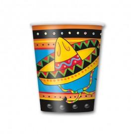 8 Bicchieri con Sombrero Messicano 250 ml