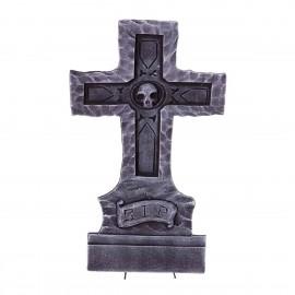 Lapide a Forma di Croce con Teschio e RIP