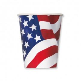 8 Bicchieri con Bandiera Americana 355 ml