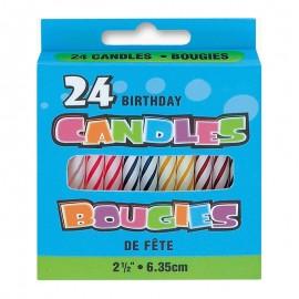 24 Candele forma Spirale Colori Assortiti