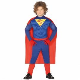 Costume Supereroe con Muscoli e Mantello per Bimbo