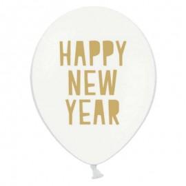 6 Palloncini con Scritta Happy New Year 30 cm