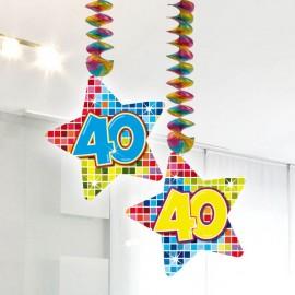 2 Decorazioni Appese 40 forma Stella Multicolore