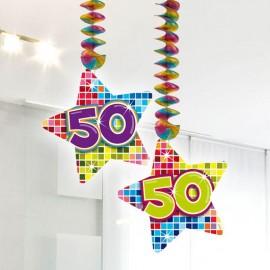 2 Decorazioni Appese 50 forma Stella Multicolore