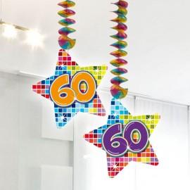 2 Decorazioni Appese 60 forma Stella Multicolore