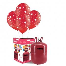 Botella de Helio Grande con 50 Globos Rojo con Corazones