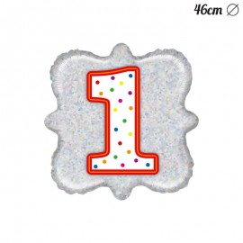 Palloncino Numero 1 Foil Quadrato 46 cm
