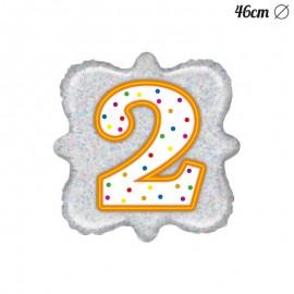 Palloncino Numero 2 Foil Quadrato 46 cm