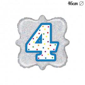 Palloncino Numero 4 Foil Quadrato 46 cm